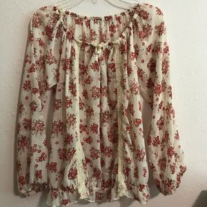 Tops - Red and cream blouse